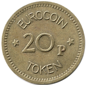 A metal token coin